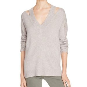 Rebecca Minkoff Gray Draco Cold Shoulder Sweater
